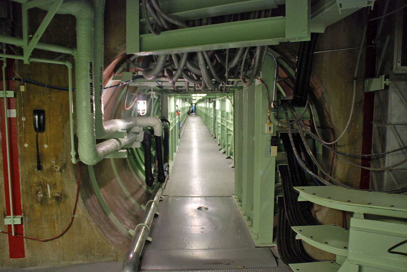The long corridor leading from the missile silo back to the crew's quarters.