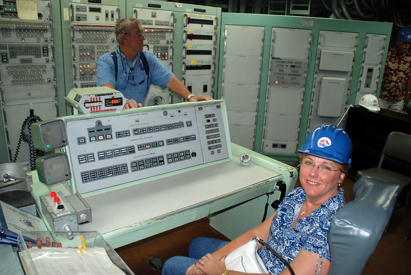Jean is about to launch a nuclear missile from the commander's console.
