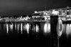 Night Reflections at National Harbor in Black and White