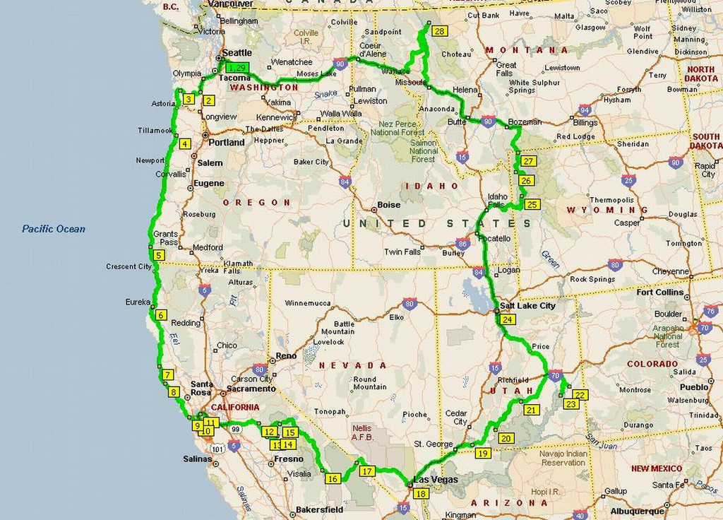 Outline of the trip, which we rode clockwise.