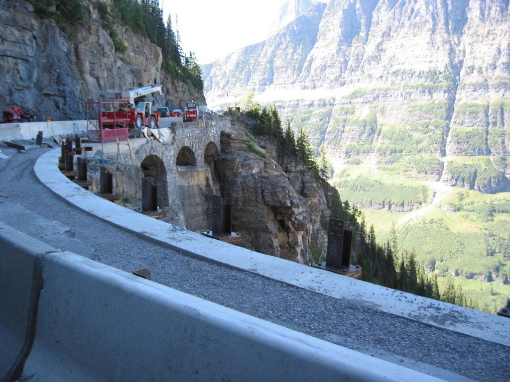 Constructions along the Going to the Sun Highway, Glacier Park.