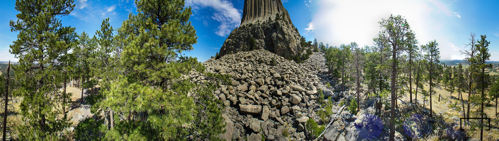 Devil's Tower, Wyoming - Pole Aerial Photography Panoramic  © Copyright m2 Photography - Michael J. Mikkelson 2012. All Rights Reserved. Images can not be used without permission.