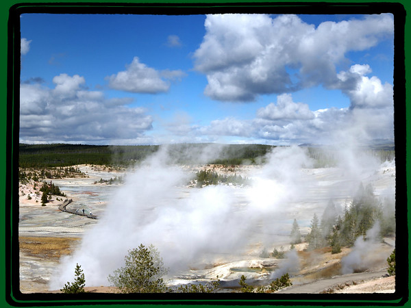 The Lower Geyser Basin encompasses nearly 12 square miles, with most of the thermal features widely scattered in small groups. Some of the groups include the Fountain Group, Firehole Lake Group, White Dome Group, Great Fountain - White Creek Group, and the Imperial Group.