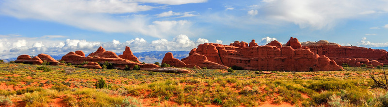 Panoramic Landscape of Arches National Park<br /> Varied landscape across Arches National Park, Utah