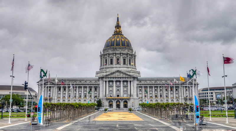 San Francisco's City Hall on a dark cloudy day.