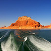 Cruising along Lake Powell Cruising along Lake Powell towards Rainbow Bridge Arch.