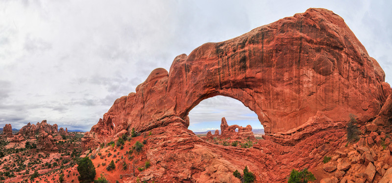 Turret Arch as seen through the South Window in the Window's area of Arches National Park, Utah.