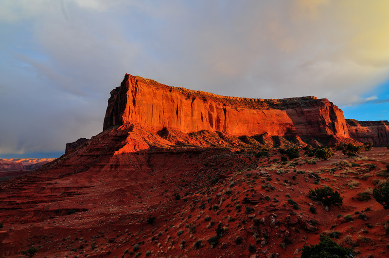 View of Monument Valley at sunset.