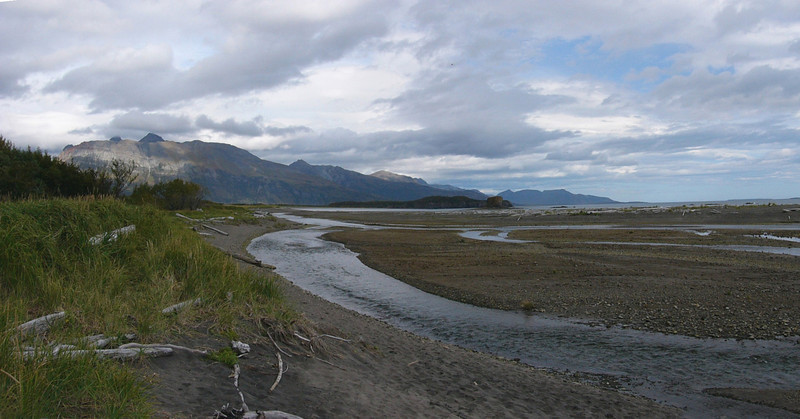 The wilderness  of Hallo Bay was magically beautiful.  This panorama shot was stiched together from two photos.