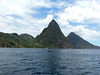 Looking back, what a view of the Pitons !