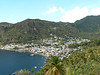 Coming from the airport, first view of Soufriere town.