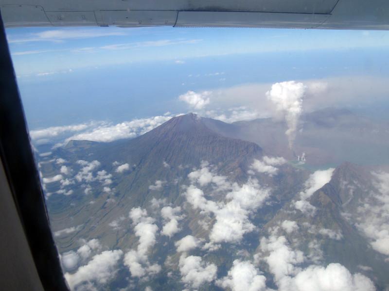 View of a Bali volcano from the charter flight to Wakatobi.