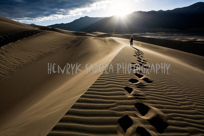 Walking towards the sun - Great Sand Dunes National Park.