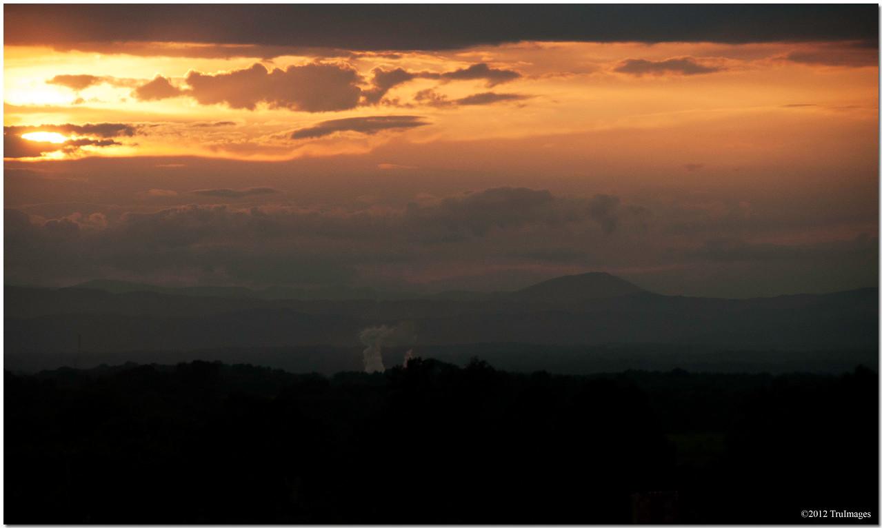 Sunset over the mountain range