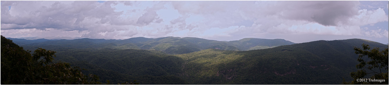 Panoramic view of the blue ridge mountains from the blue ridge parkway