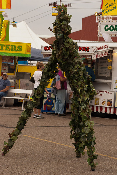 This pix and following is the vine lady who posed all around the Fair.  She would stand next to buildings blending in, you couldn't see her at all.