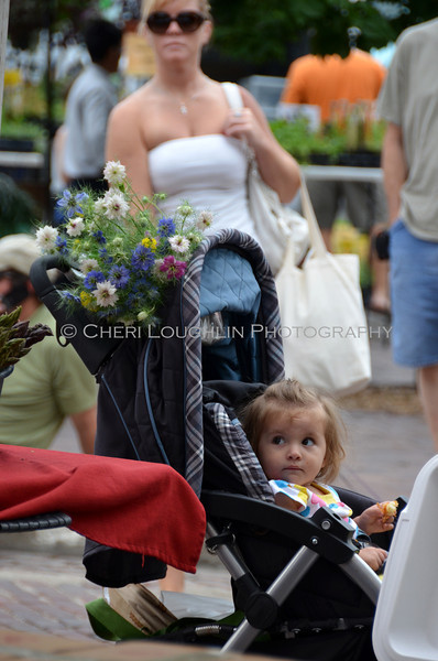 Omaha Farmer's Market - Child in Stroller w/ Flowers