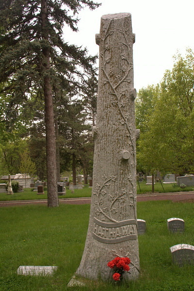 Hathaway Family gravestone, of a single granite stone, weighed approx. 3 tons before carving.  It cost $600 around 1890 for the State Granite and Marble Company of Lincoln, NE to produce.   The stumps of the branches symbolize death with resurrection symbolized by ivy plant up the stump.  Hiram Hathaway was the owner of the Nebraska State Journal.