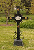 Only one wrought-iron cross in Wyuka cemetery although more common in the mid-western German background cemeteries.  It marks the grave of F.G. Beuthner (1817-1896),  Inscribed in German on a porcelain plaque.
