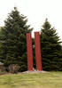 Two red-painted steel I-beams symbolizing the World Trade Towers in New York City, destroyed in the terrorists attack 9?11/2001.  It includes th memorial Pres. Bush used