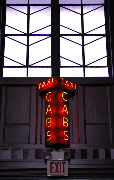 Cab sign in Union Station in Omaha, Nebraska.