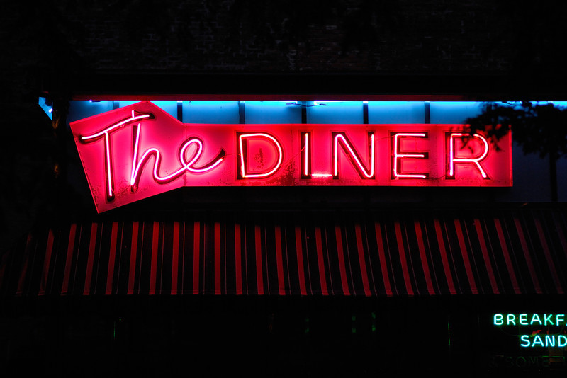 Neon diner sign in Omaha, Nebraska.