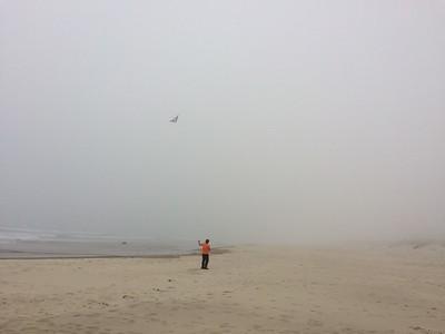 Stunt kite in the fog