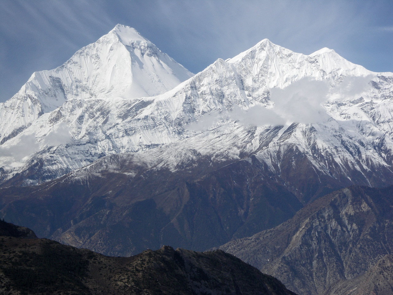 Dhaulagiri viewed from above Jharkot.  Annapurna Circuit