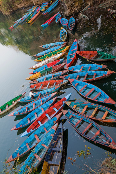 Boats at Fewa Lake. - Pokhara