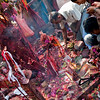 """Chaos around the holy tree at the """"Bikram Baba"""" festival in Chitwan."""