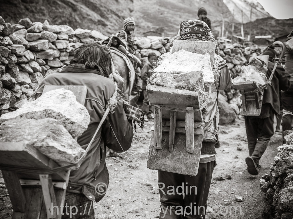 Hauling heavy rocks from the riverbed to a construction site. Langtang village, Nepal
