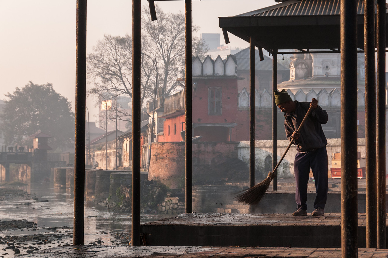 Ram Ghat is swept clean ready for the days funerals. Pashupatinath, Nepal