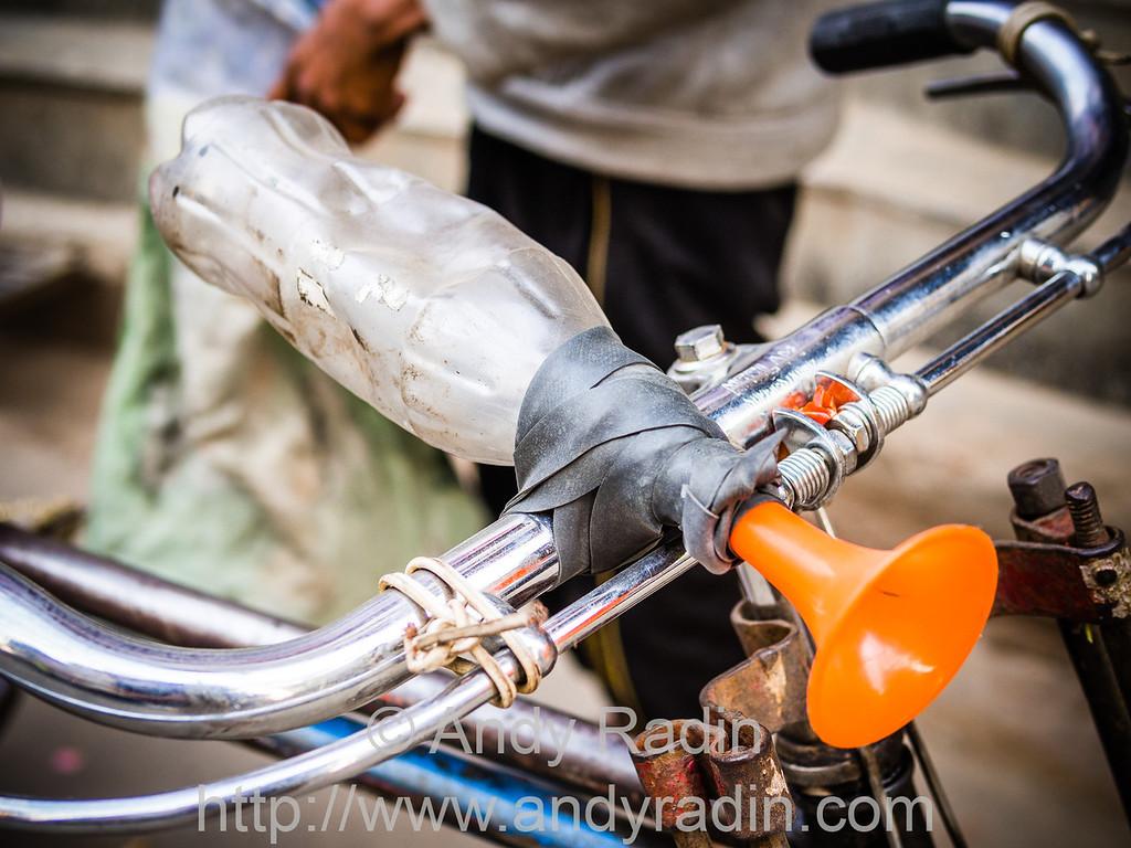Interesting improvised bike horn. Kathmandu, Nepal