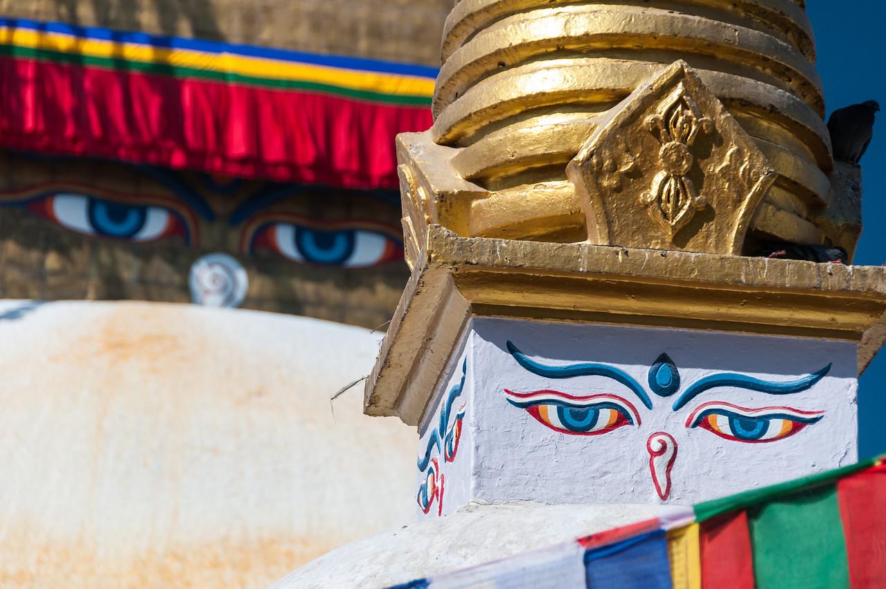 'Watching me watching you'. Boudah stupa. Boudha, Nepal