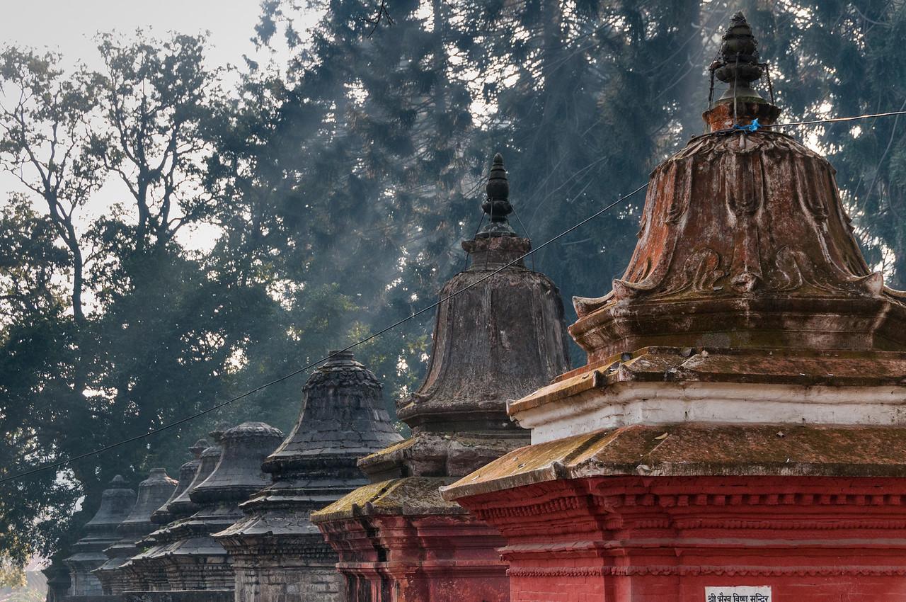Shrines to Shiva dominate Gorakhnath Mandir on the hill above Pashupatinath. Nepal