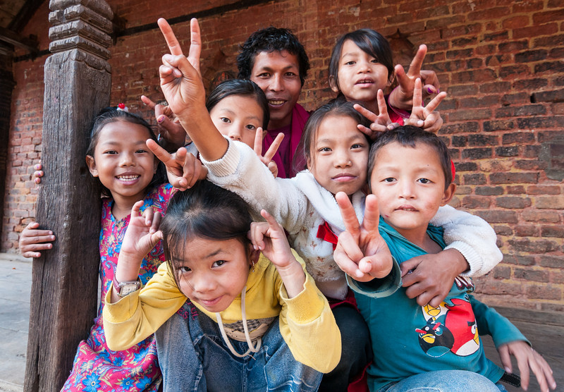 Kids being kids in the backstreets of Bhaktapur, Nepal