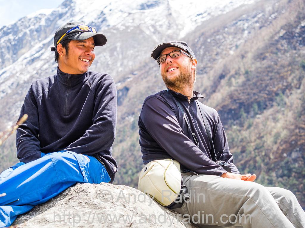 Mike and guide. Langtang valley trek, Nepal