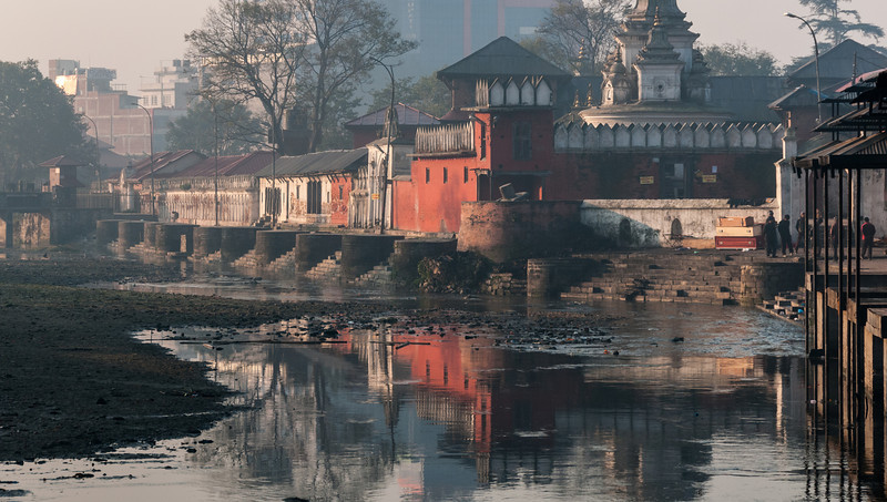 Raj Rajeshwari overlooks the Bagmati River south of Ram Ghat. Pashupatinath, Nepal