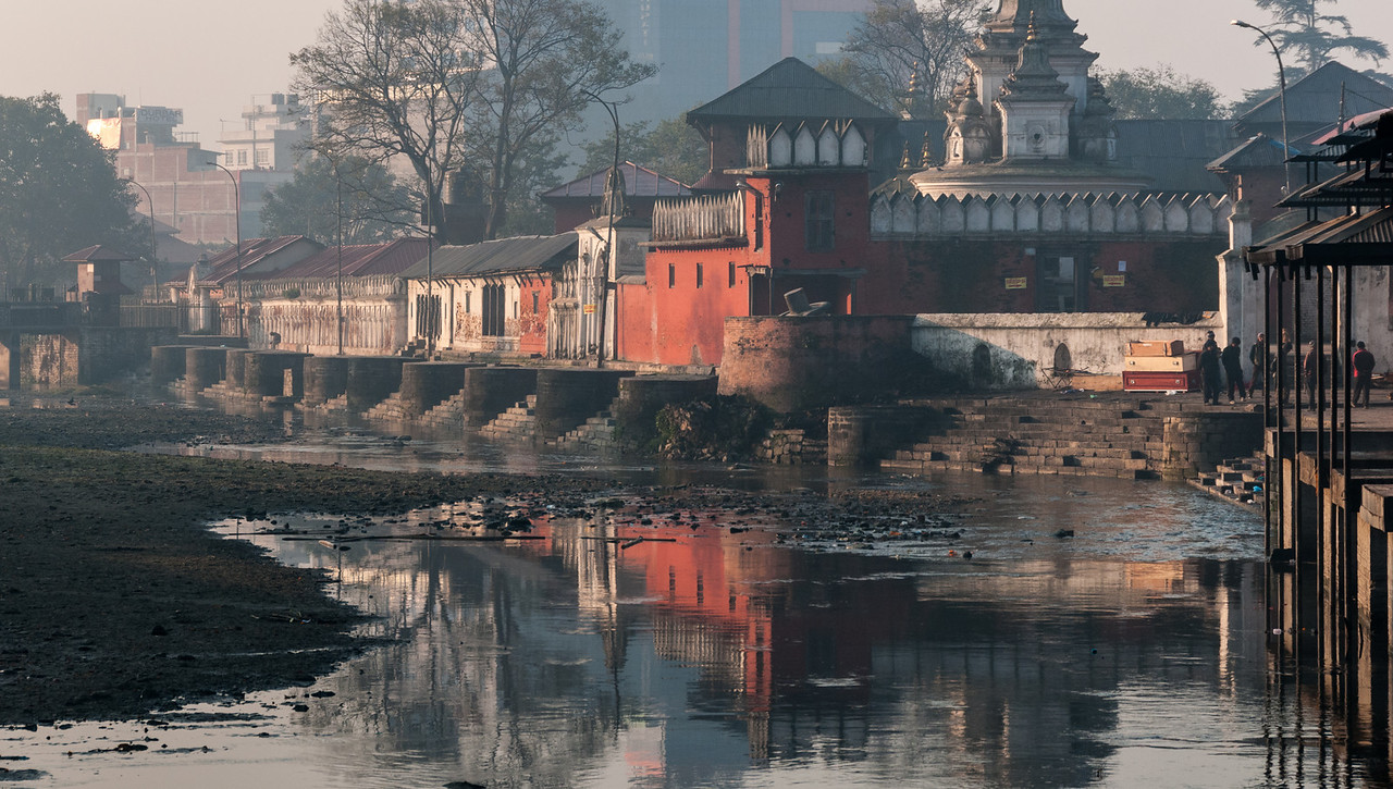 Raj Rajeshwari overlooks the Bagmati River south of Ram Ghat. Pashupatinath, Nepal