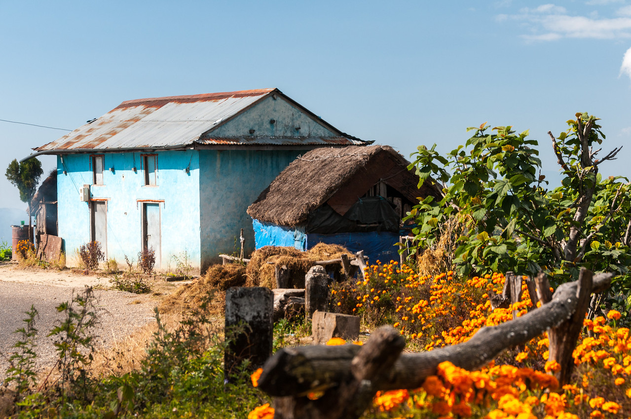 A splash of colour on the road to Daman, Nepal