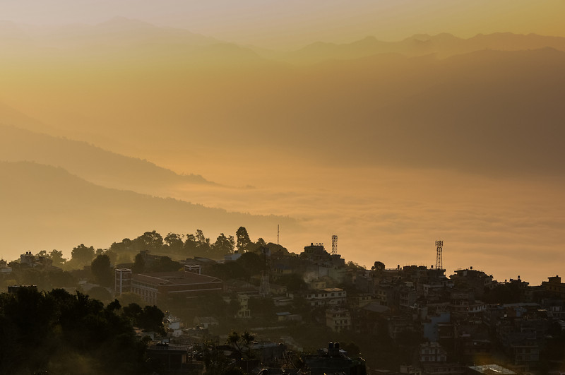 Cloud weighs heavy in the valley as dawn comes to Tansen. Nepal