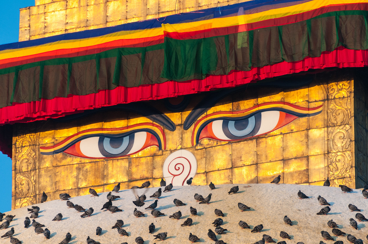 Buddha keeps a lookout from atop the stupa in Boudha. Nepal