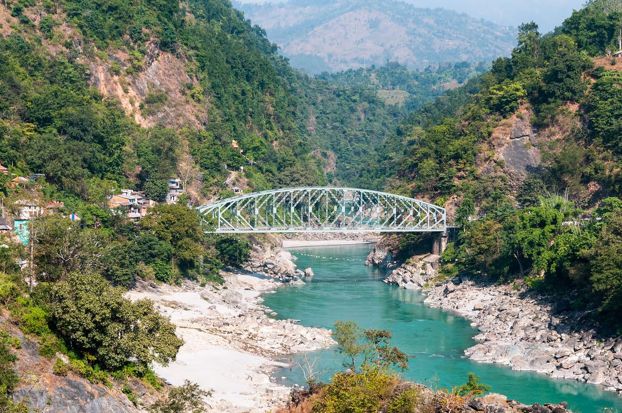 The Kaligandaki Bridge spans the river of the same name along the Pokhara to Butwal road