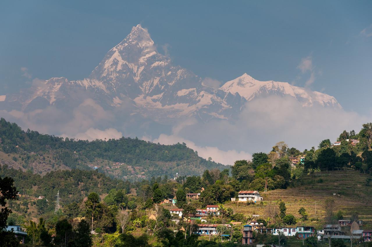 Annapurna dominates the skyline on the road to Pokhara