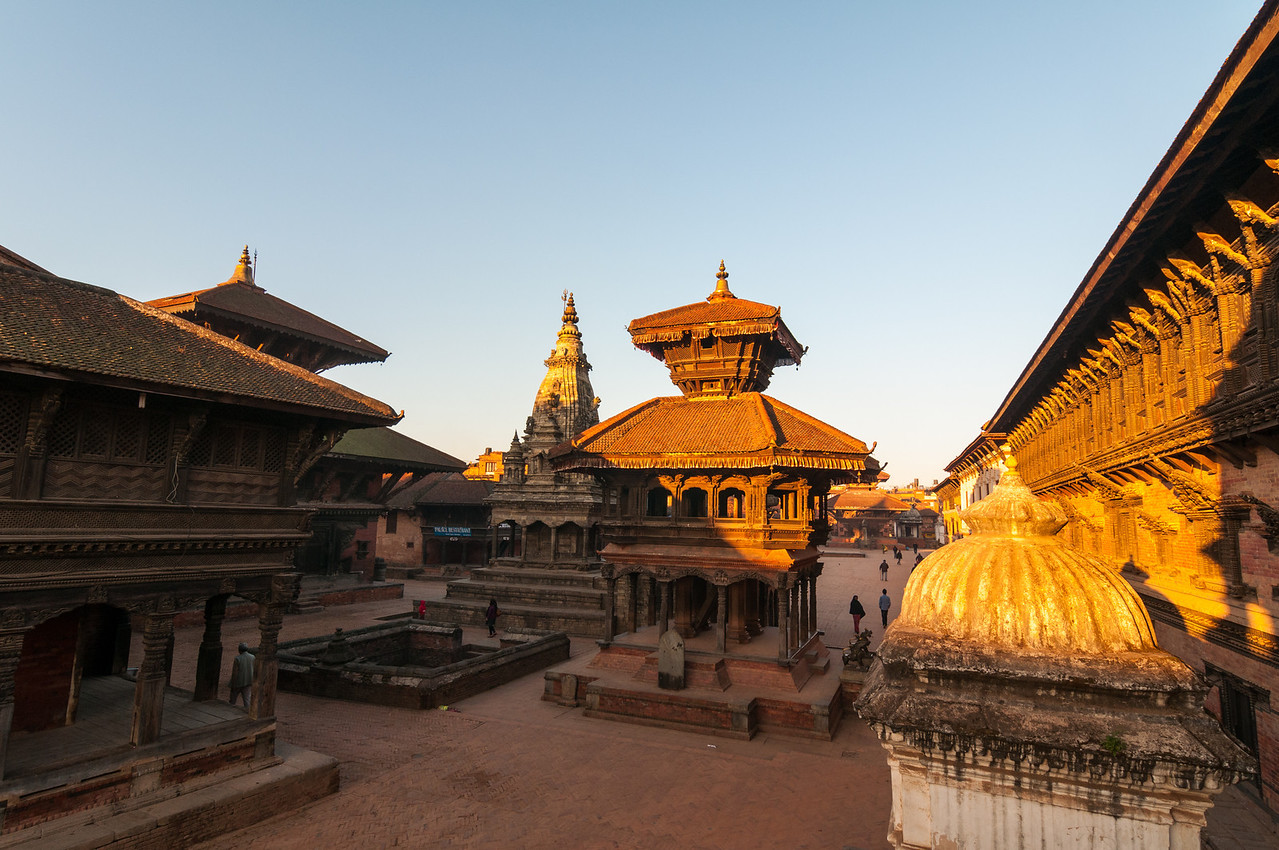 Sunlight strikes the Chyasin Mandap in Durbar Square, Bhaktapur. Nepal