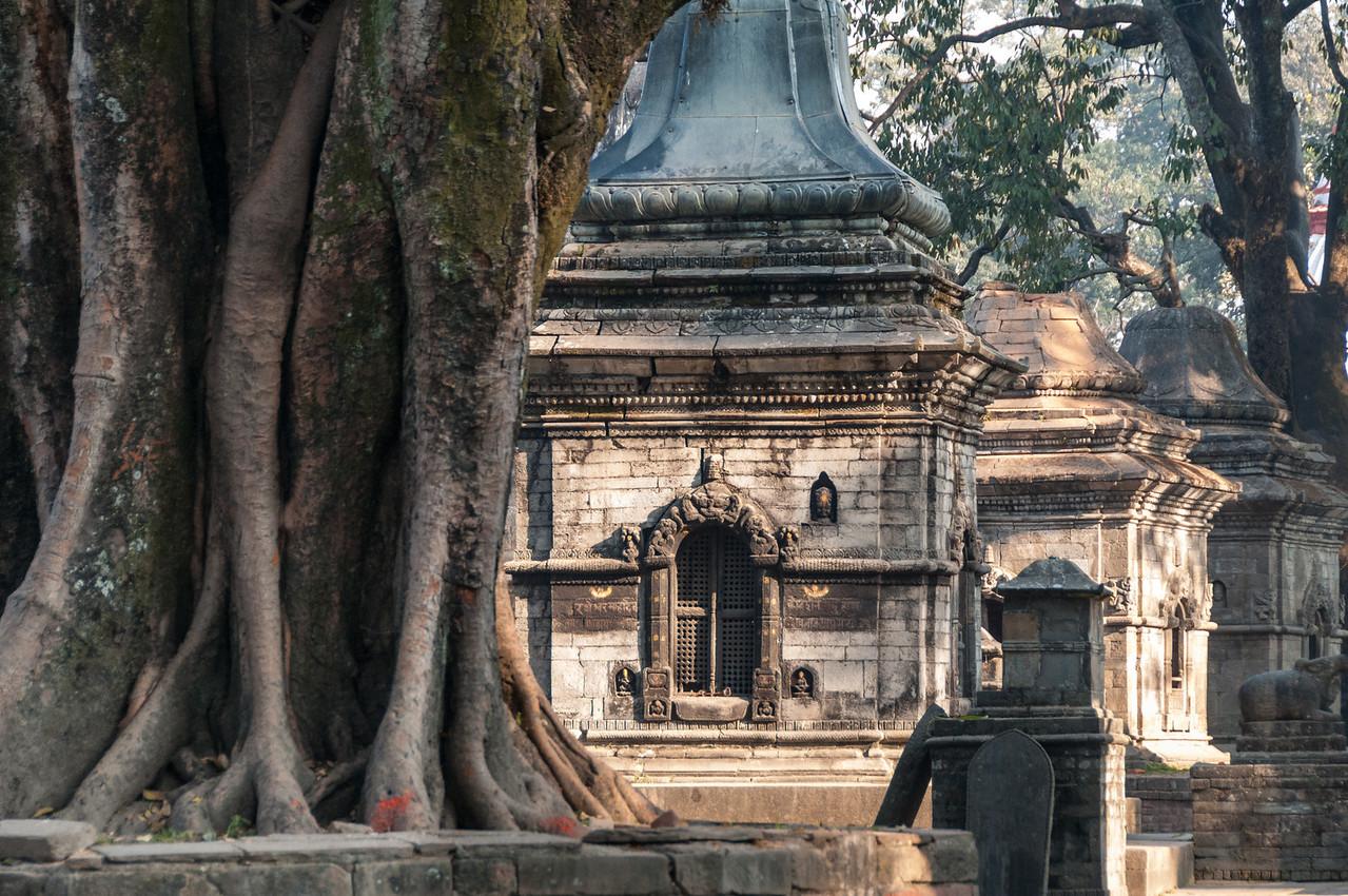 Shrives to Shiva dominate Gorakhnath Mandir on the hill above Pashupatinath. Nepal
