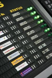 "The ""old-skool"" flight arrival board at Delhi Airport"