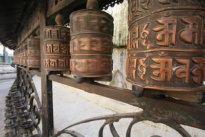 prayer wheels at the monkey temple