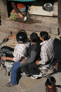 Motorcyclists stopping at the drive-thru