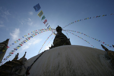 prayer flags at the monkey temple